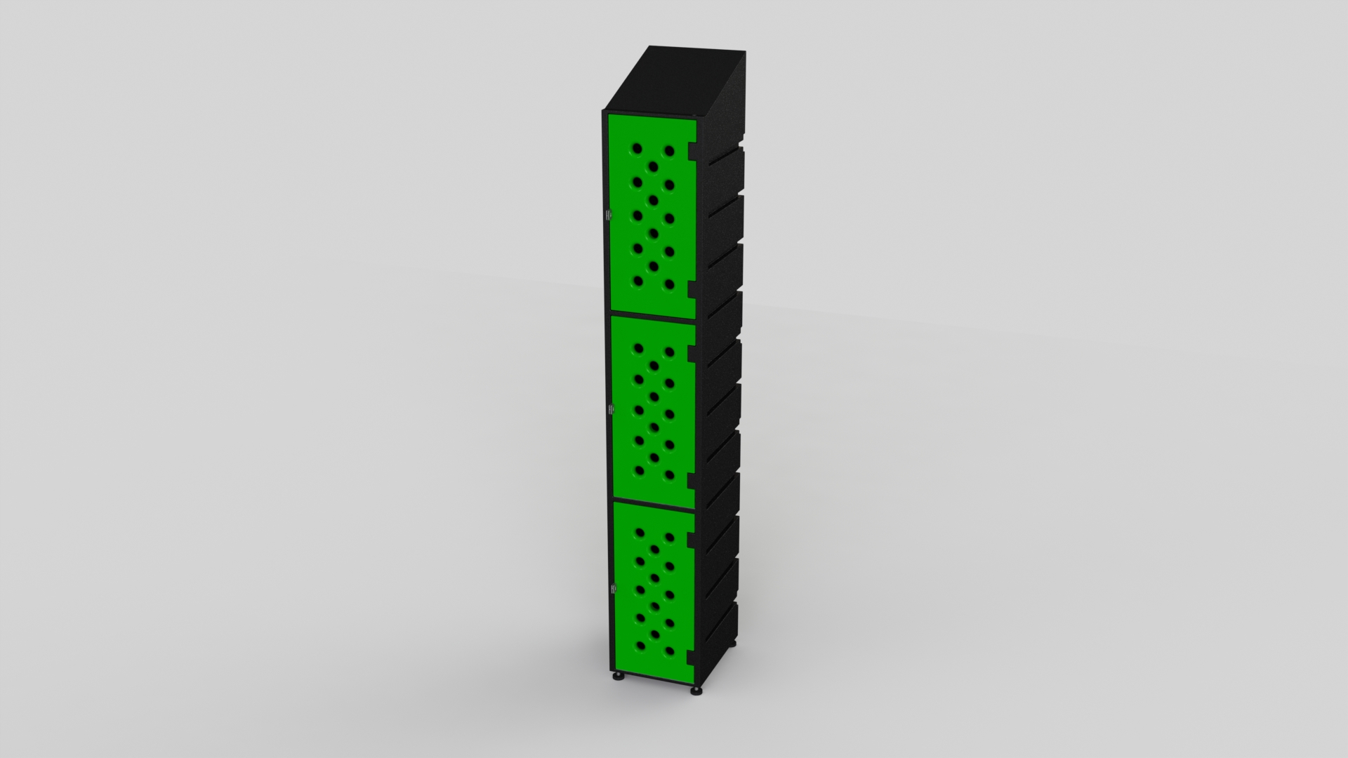 3 Tier Plastic Locker | Ecolite Green Mesh