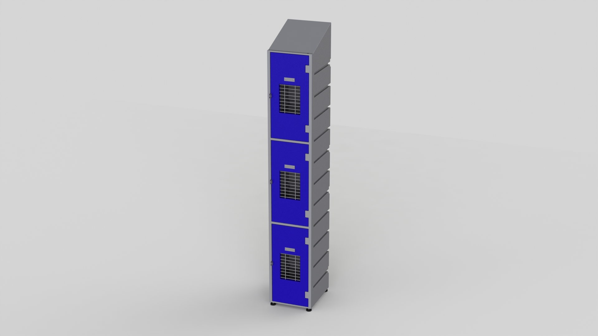 3 Tier Plastic Locker | Slant Top Mesh