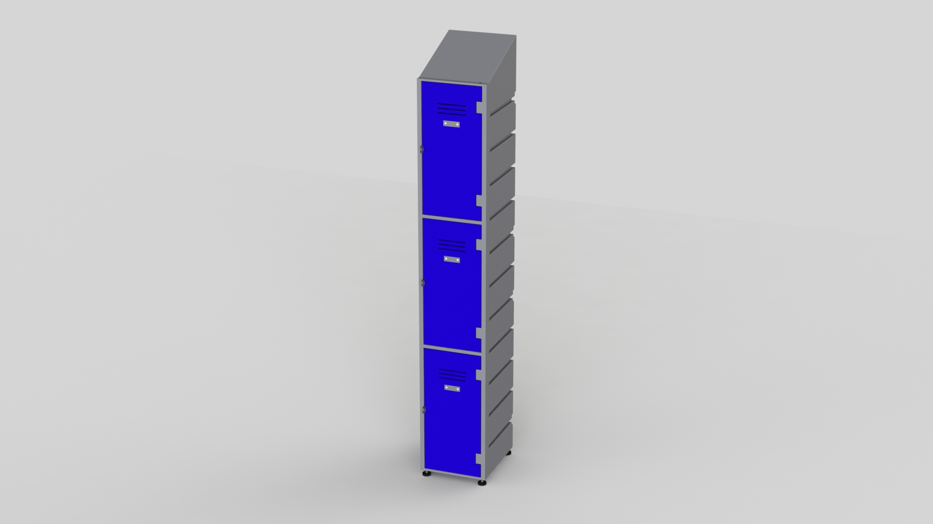 3 Tier Plastic Locker | Slant Top Solid