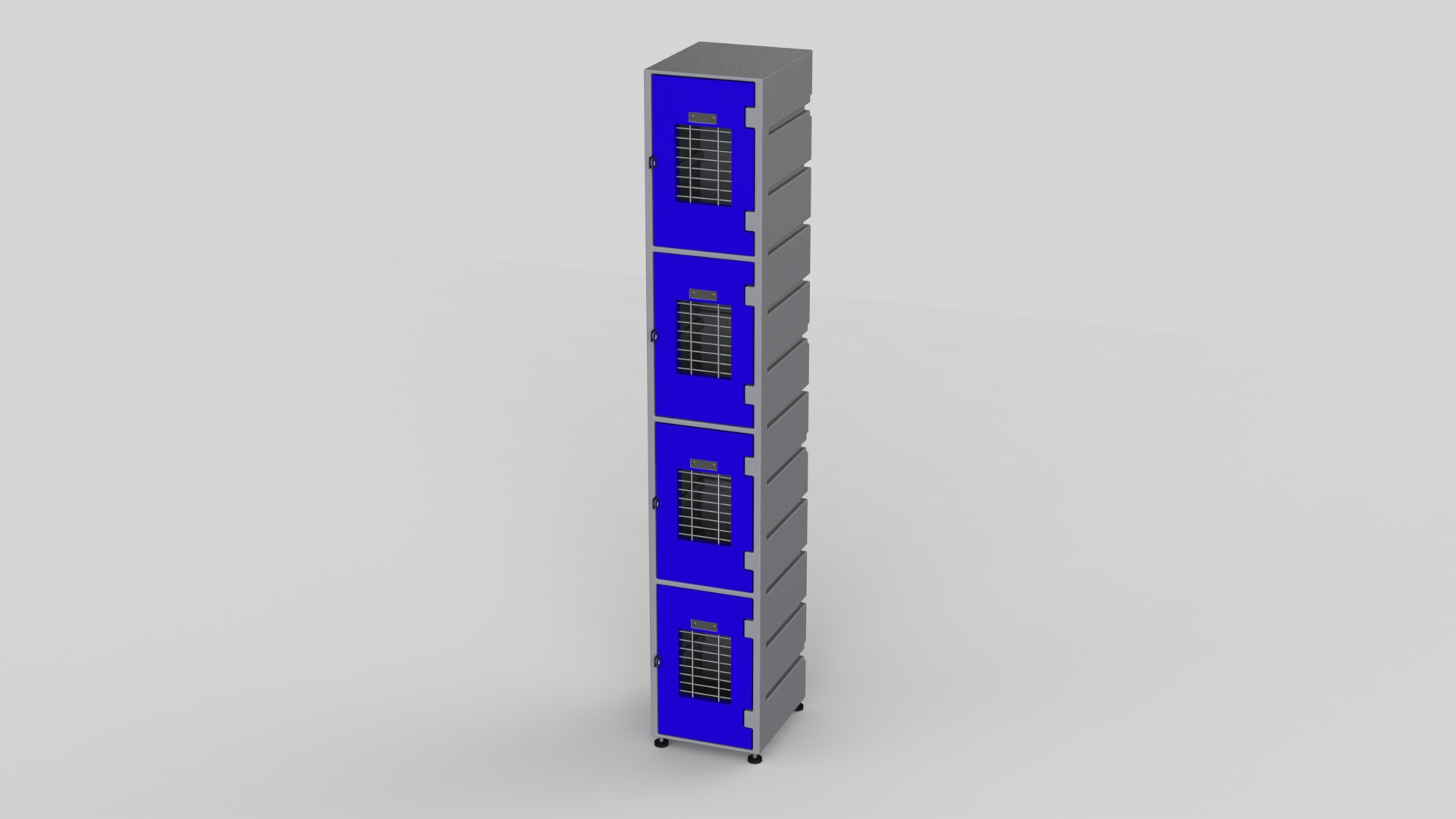 4 Tier Plastic Locker | Flat Top Mesh