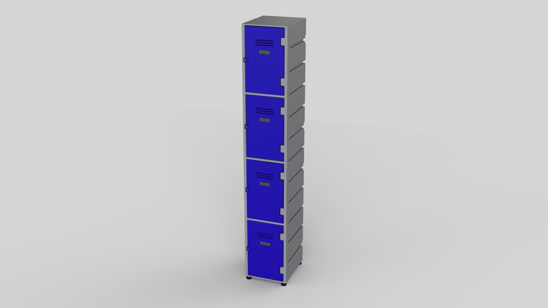 4 Tier Plastic Locker | Flat Top Solid
