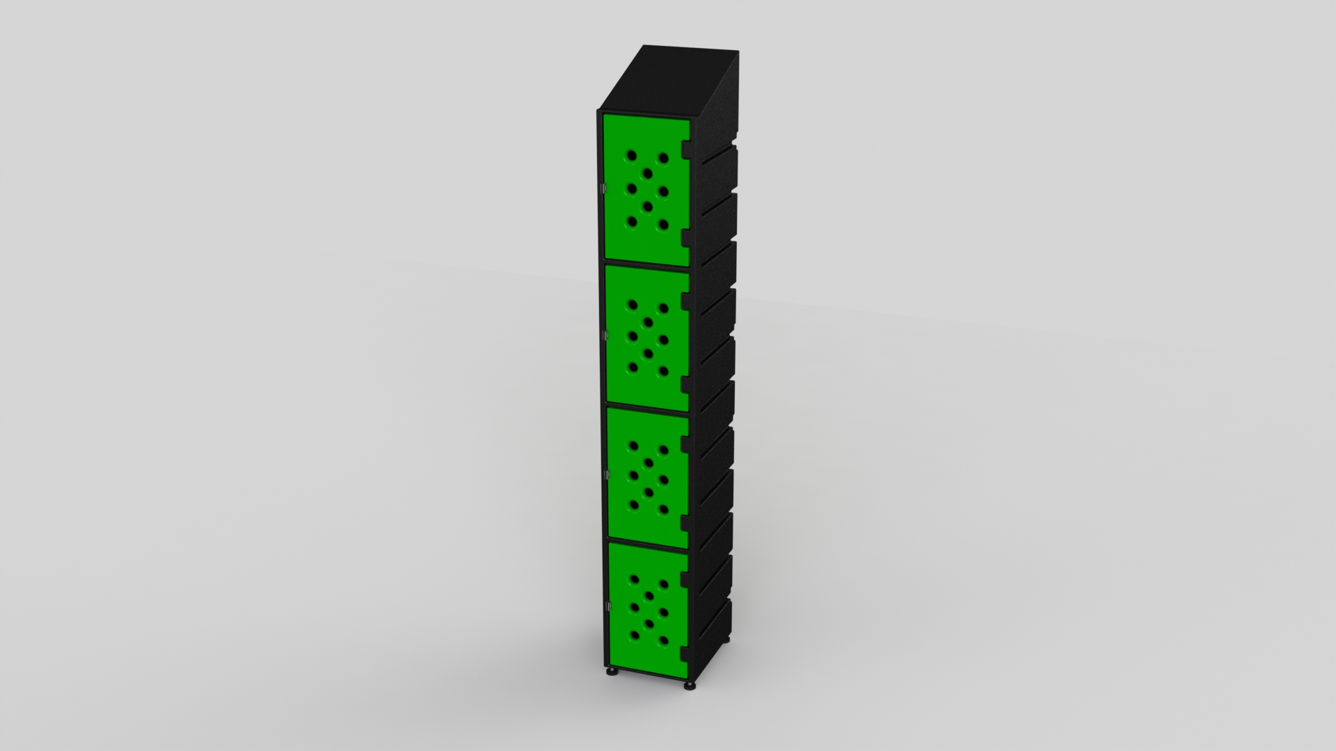 4 Tier Plastic Locker | Ecolite Green Mesh