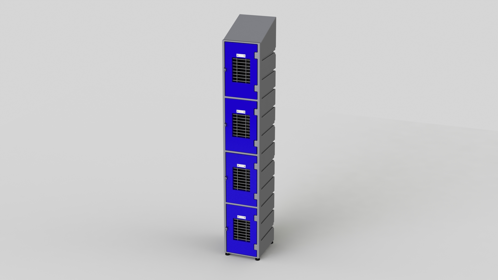 4 Tier Plastic Locker | Slant Top Mesh