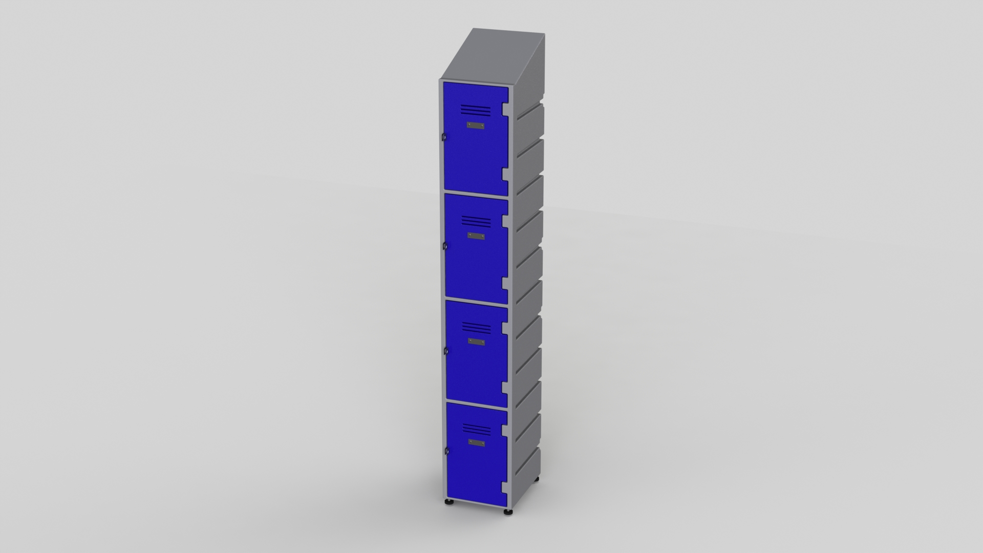 4 Tier Plastic Locker | Slant Top Solid