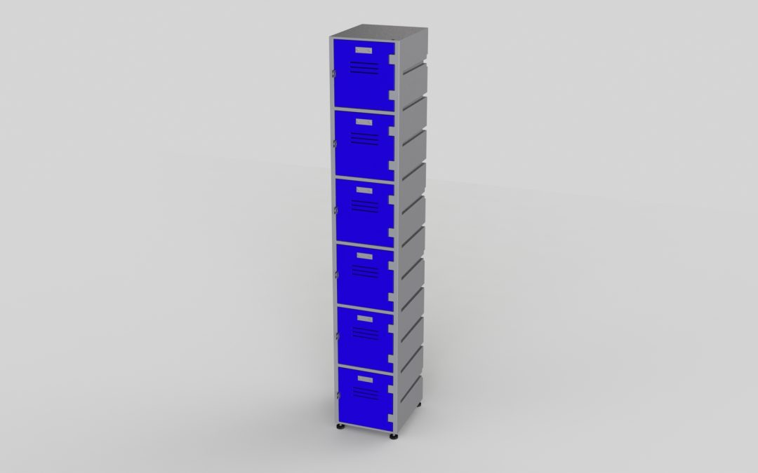 6 Tier Plastic Locker | Flat Top Solid