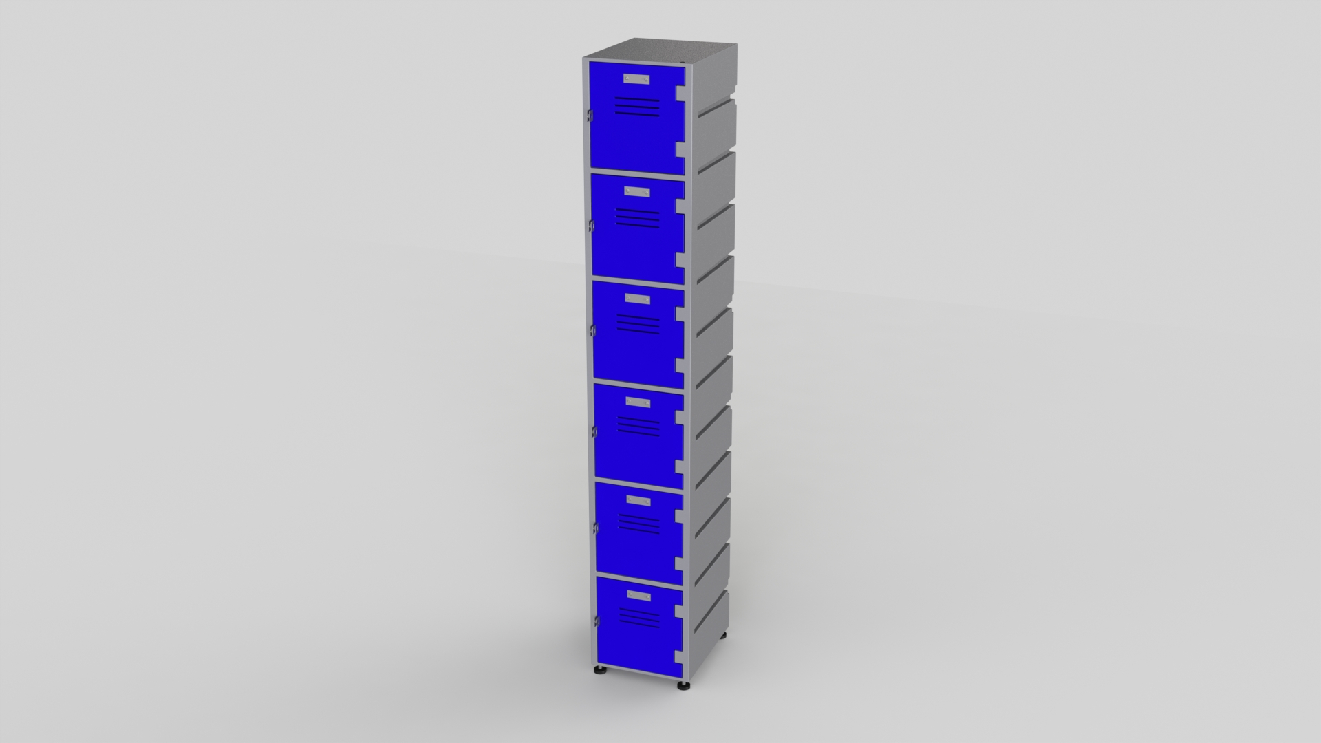 6 Tier Plastic Locker | Flat Top Solid