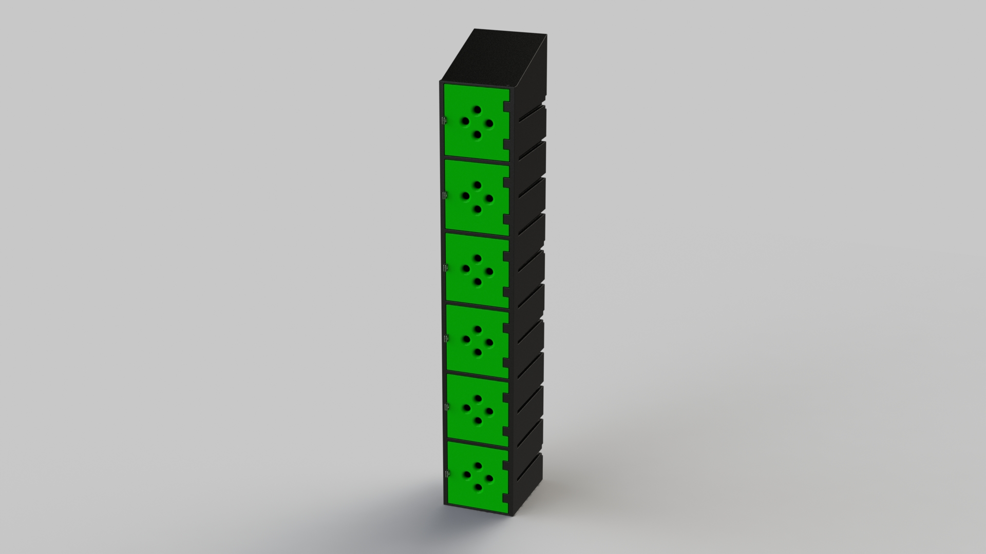 6 Tier Plastic Locker | Ecolite Green Mesh