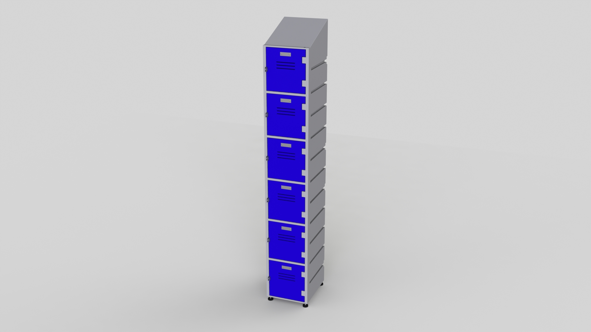 6 Tier Plastic Locker | Slant Top Solid